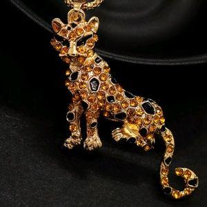 Betsey Johnson Golden Cat Pendant Necklace